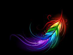 炫丽彩色羽毛矢量素材