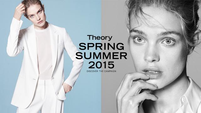 2015年2月,Theory在纽约启动全新广告宣传和新品牌Logo启用计划。2015年春夏全新广告大片由俄罗斯超模纳塔利·沃佳诺娃(Natalia Vodianova)与法国超模克莱门特·查波诺德(Clement Chabernaud)于伦敦倾情演绎,大卫·西姆斯(David Sims)担纲摄影。