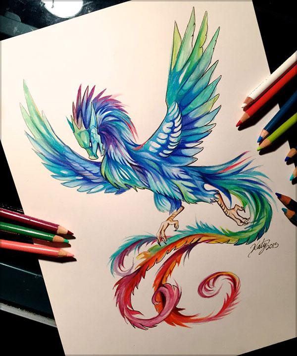 Katy Lipscomb精致的彩色铅笔绘画作品