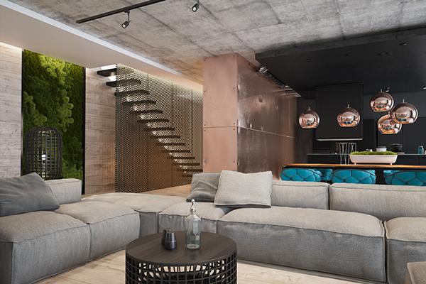 乌克兰Copper简约工业风Loft公寓