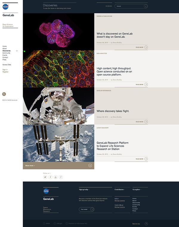 NASA GeneLab网页界面设计