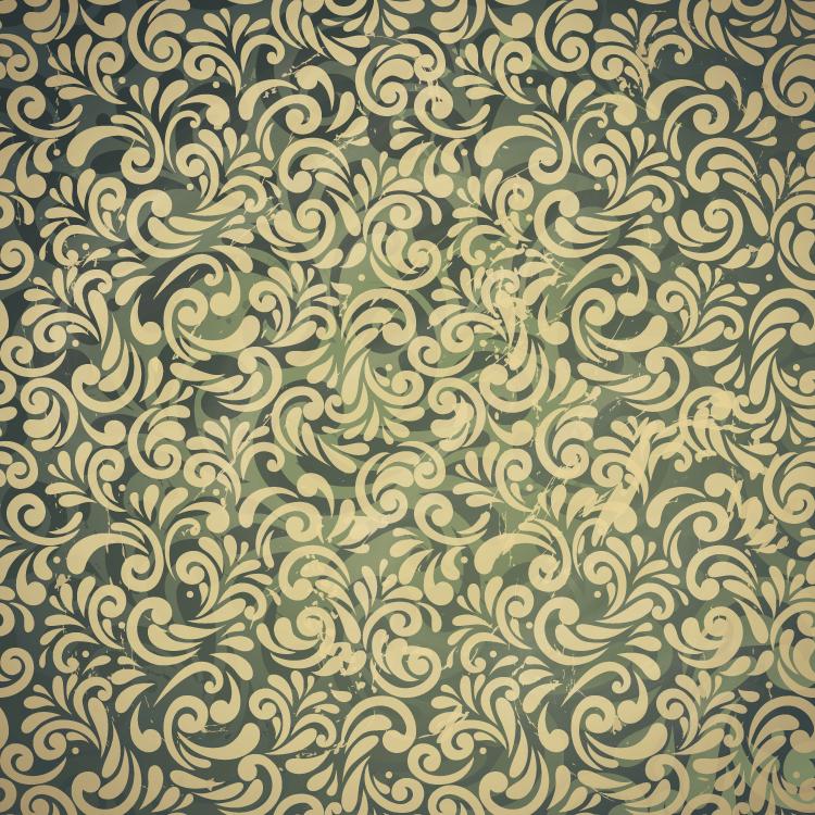 复古花纹无缝背景矢量素材(2)