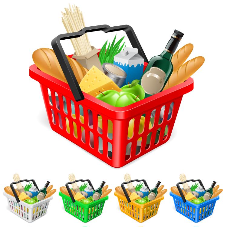 彩色的超市购物篮矢量素材