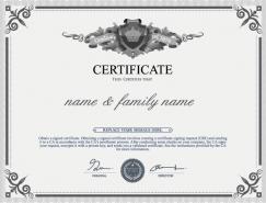 灰色风格的证书认证模板矢量素材