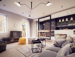 简洁创意的开放式布局公寓设计
