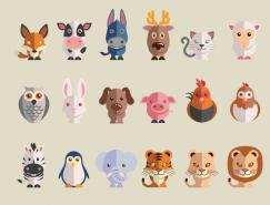 24款可爱动物图标矢量素材