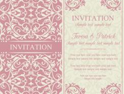 粉色花纹背景卡片矢量素材
