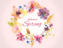 春天水彩花朵矢量素材