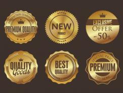 华丽品质认证金色标签矢量素材