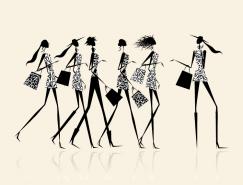 快乐时尚购物女孩矢量素材