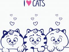 3只可爱蓝色小猫矢量素材