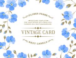 蓝色花朵无缝背景矢量素材