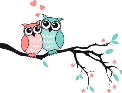 枝头上的猫头鹰情侣矢量素材