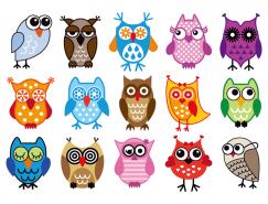 15款可爱猫头鹰图标矢量素材