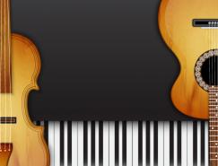 吉他和琴键背景矢量素材