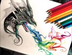 Katy Lipscomb精致的彩色鉛筆繪畫作品