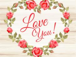 木纹背景爱心玫瑰花矢量素材