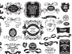 复古风格花纹标签矢量素材(1)