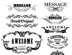 复古风格花纹标签矢量素材(3)