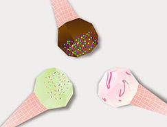 AI打造3D多边形纸艺效果雪糕
