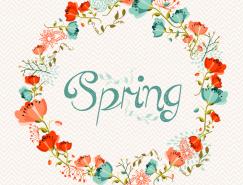 漂亮的春天花环背景矢量素材