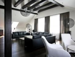 俄罗斯黑白复式阁楼住宅设计