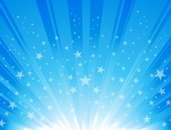 蓝色星星放射线背景矢量素材