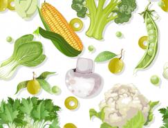 各种蔬菜无缝背景矢量素材
