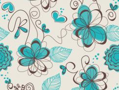手绘涂鸦风格花卉背景矢量素材