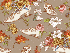 复古高跟鞋与花朵背景矢量素材