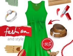 潮流女性穿戴用品矢量素材