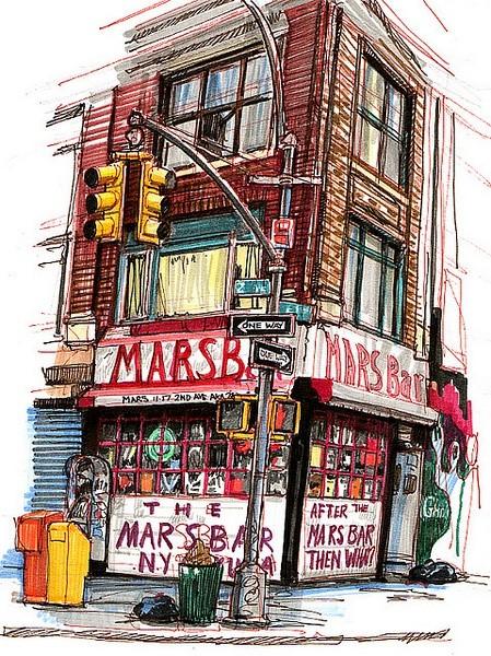 街景咖啡店手绘