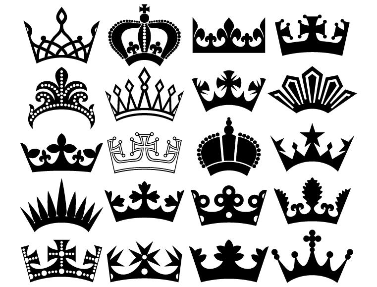 皇冠剪影矢量素材(6)