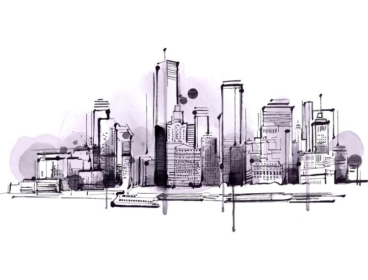 手绘都市高楼背景矢量素材