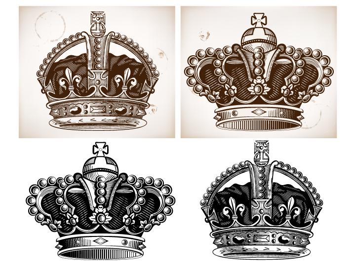 4款豪华欧式皇冠矢量素材
