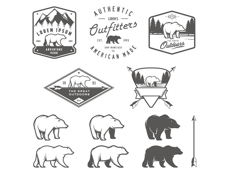手绘北极熊logo矢量素材