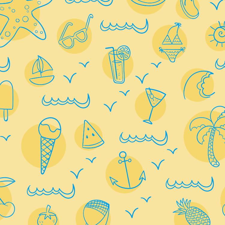 ai格式,手绘,夏天,元素,船锚,菠萝,冷饮,冰淇淋,椰树,比基尼,西瓜