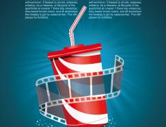 電影膠片和飲料杯背景矢量素材