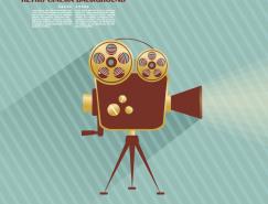 电影放映机背景矢量素材
