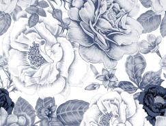 手绘花卉无缝背景矢量素材(1)