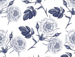 手绘花卉无缝背景矢量素材(2)