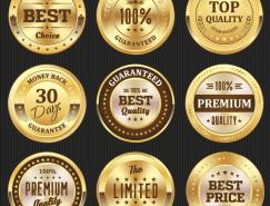 9款质量认证金色徽章矢量素材