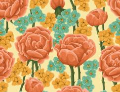 美丽的花朵复古图案背景矢量素材(1)