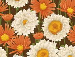 美丽的花朵复古图案背景矢量素材(3)