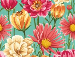美丽的花朵复古图案背景矢量素材(7)
