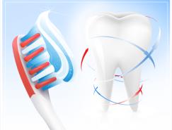 牙刷和牙齿矢量素材