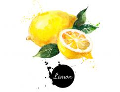 手绘水彩柠檬矢量素材