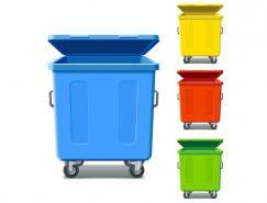 彩色滚轮垃圾桶矢量素材