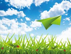 纸飞机和蓝天绿草背景矢量素材