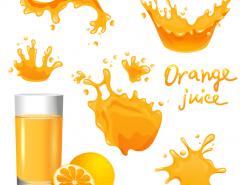 飞溅动感的橙汁矢量素材